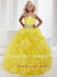 Online Shop Purple Beaded Organza Ball Gown Girl's Pageant Dress Sexy One Shouder Neckline Little Flower Girls|Aliexpress Mobile