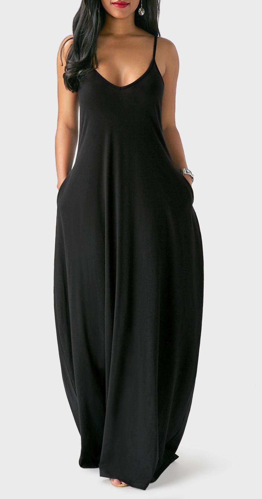 f7de73862b28 Black Spaghetti Strap Baggy Maxi Dress