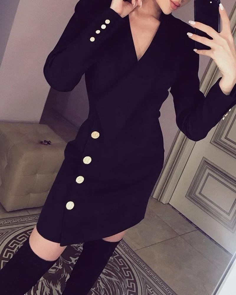 Long Sleeve Button Detail Blazer Dress Long Sleeve Dress Dresses For Work Long Sleeve [ 1000 x 800 Pixel ]
