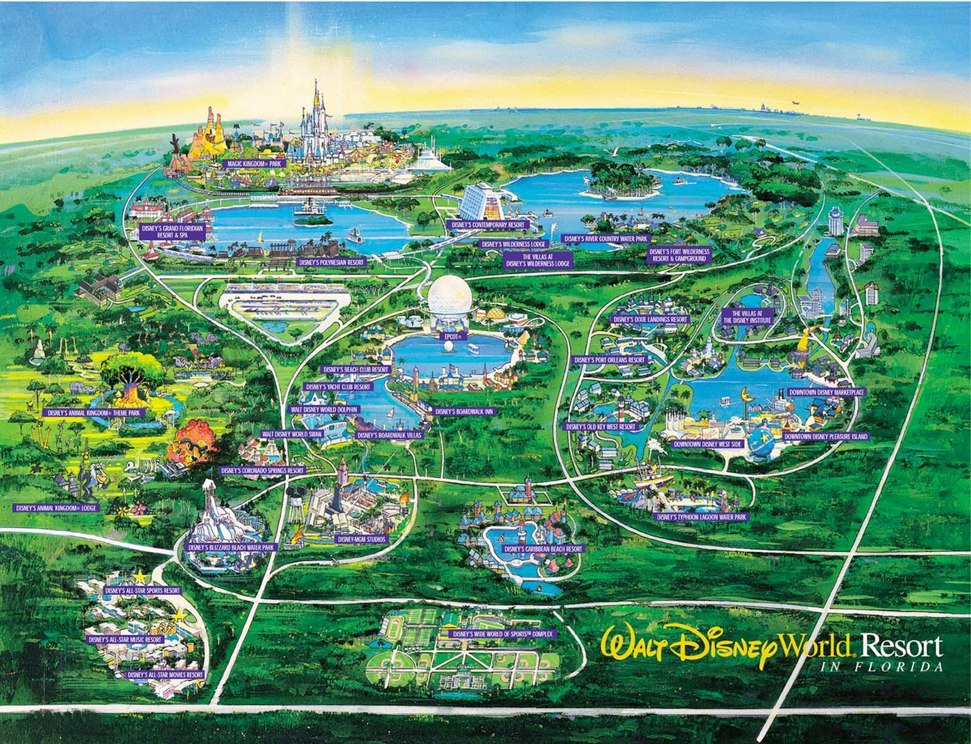 WDW Wall Map And Walt Disney World Besttabletfor Me Within Resorts Disney World Theme Parks Map on