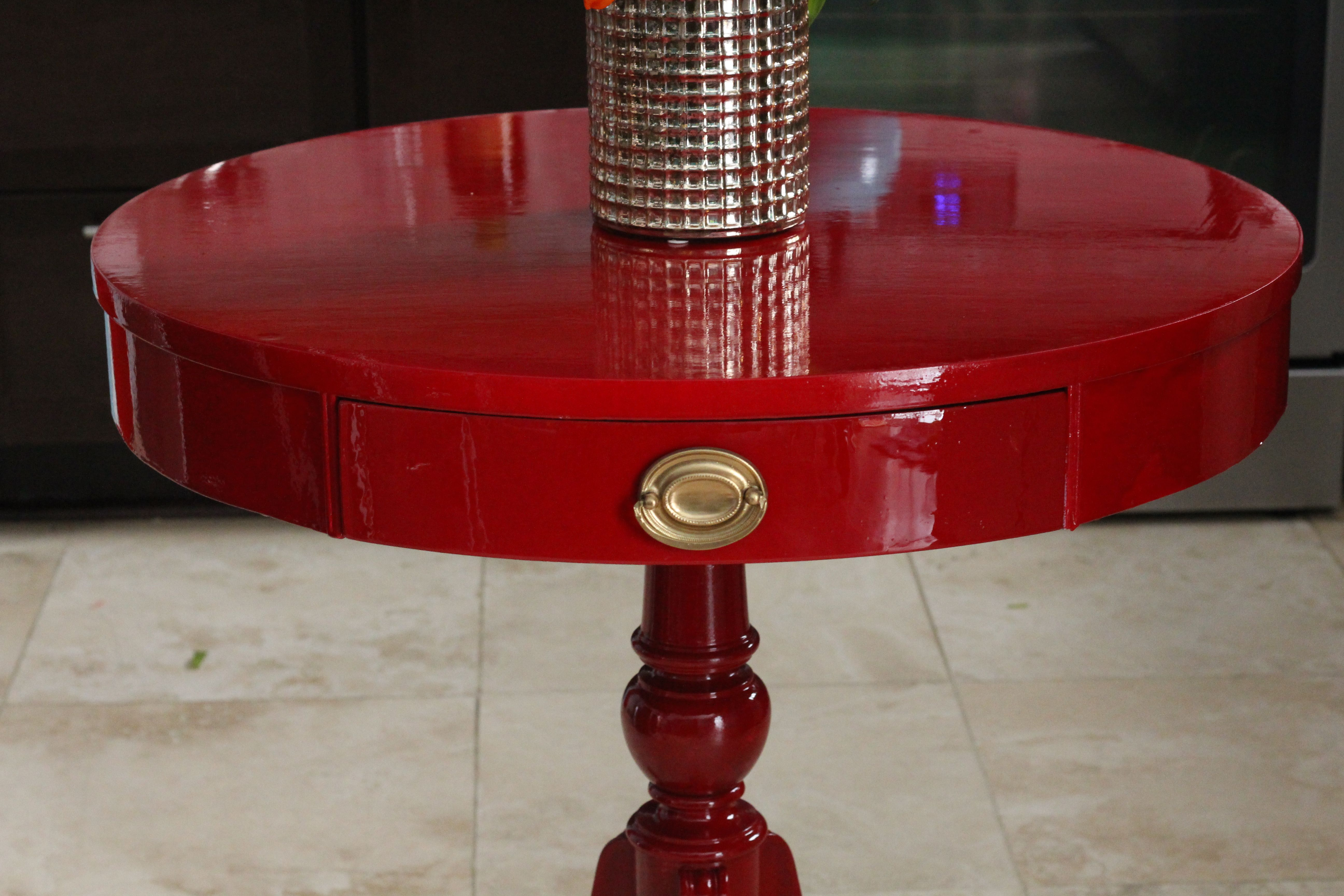 Refinished Vintage Duncan Phyfe Table With High Gloss Red Fine Paints Of Europe S Rembrandt