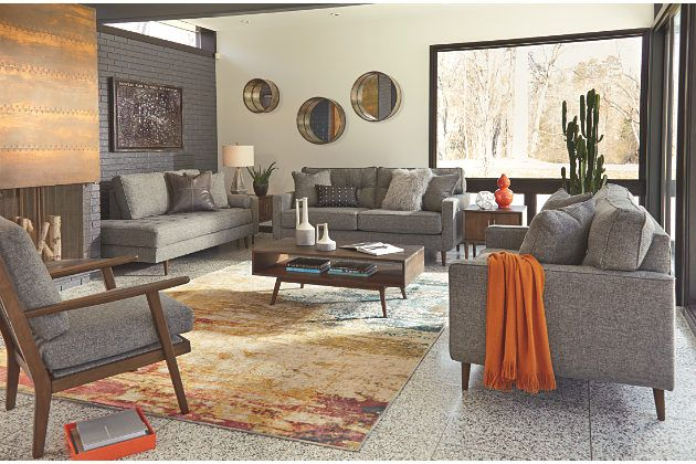 Zardoni Charcoal Gray Polyester Sofa Loveseat Chase And
