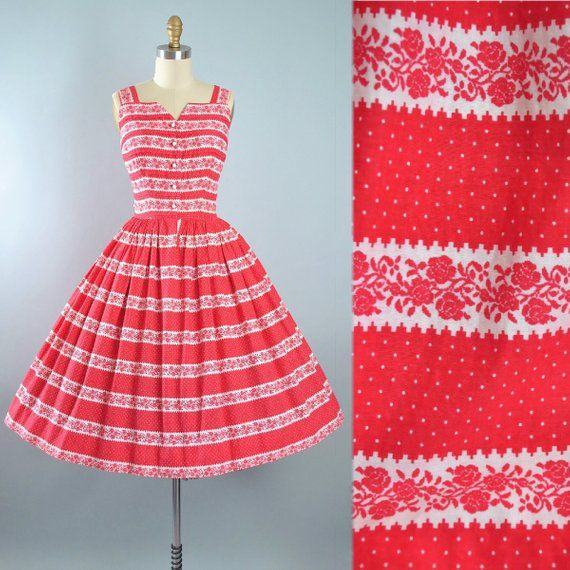 b379ded9a Vintage 50s Dress / 1950s Red Cotton Sundress Floral ROSE Print Stripe  White Polka DOTS Full Circle