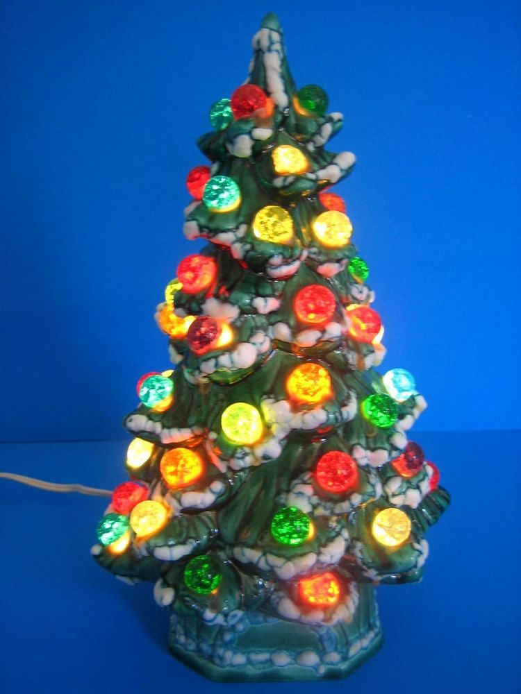 Ceramic Christmas Tree Electric Vintage Holland Mold 1967 Green
