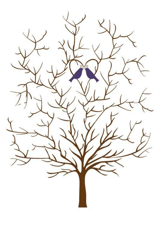 Wedding Tree Template Without Leaves Guestbook