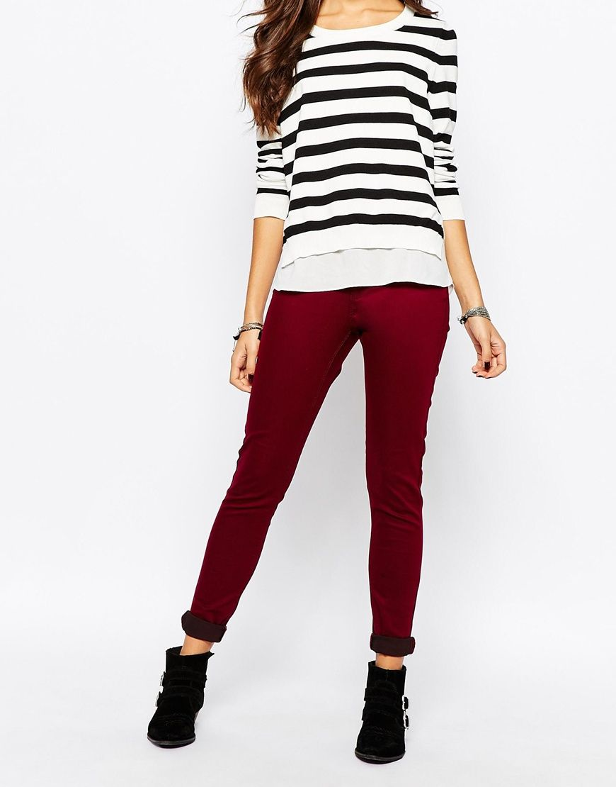 cf00895a6ab Skinny jeans by Pimkie Cotton-rich twill Firm stretch finish Lined design  Zip fly Embroidered