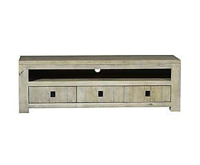 meuble tv eva bois de chne blanc patin l170 - Meuble Tv Blanc Patine
