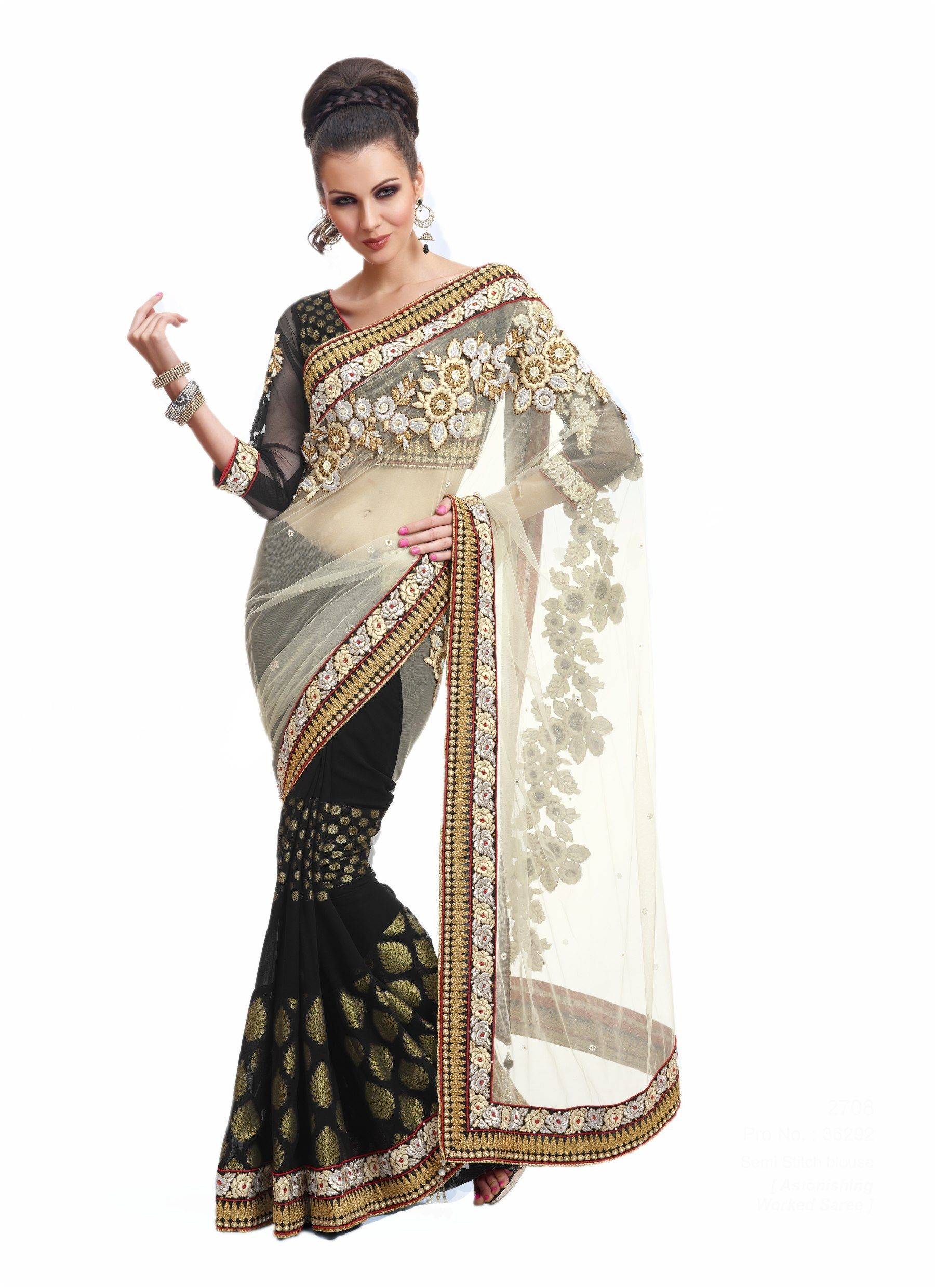 fbedbbf48f4 Black White Embrodired Georgette Net Wedding Saree With Blouse