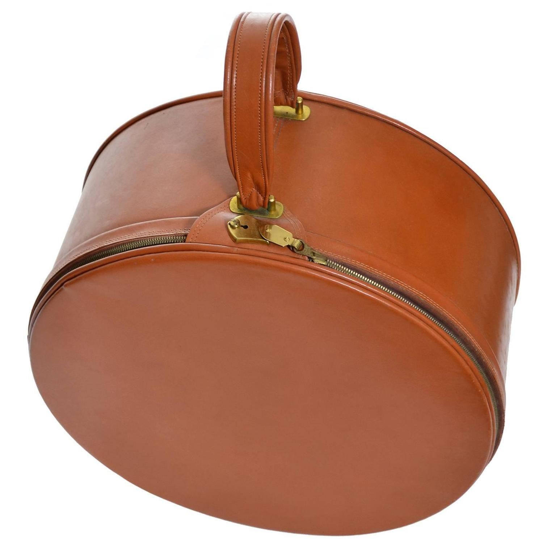 Vintage Mark Cross Brown Leather Bag Suitcase Hat Box Travel Case 1stdibs Com Vintage Travel Accessories Brown Leather Bag Bags