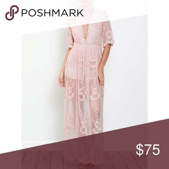 """PREORDER Blush Embroidered Lace Maxi Dress SHIPS 6/5 Available in Sizes S,M,L New with tags  Honey punch boho maxi dress with plunge neckline in romantic lace. The brand """"Honey Punch"""" is carried by many well known retailers such as Nasty Gal, ASOS, Urban Outfitters. Honey Punch Dresses Maxi"""
