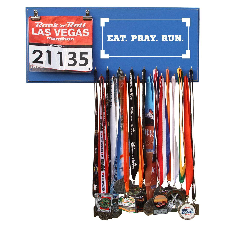 Eat Pray Run- Medals and Bib Hanger, Holder, Display