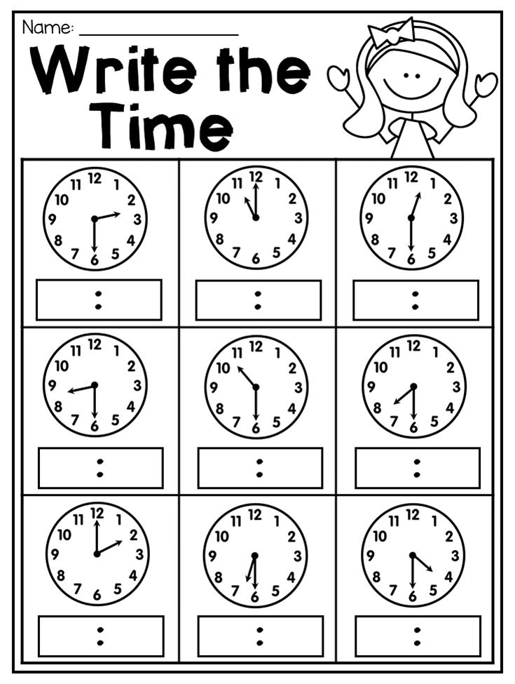 First Grade Time Worksheets Hour Half Hour Quarter