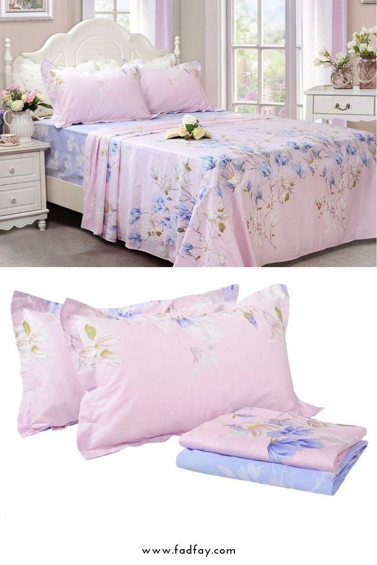 Farmhouse style magnolia floral bedding sheet set