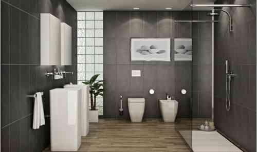 Carrelage salle de bain grise et bois en 37 idées de déco - image carrelage salle de bain