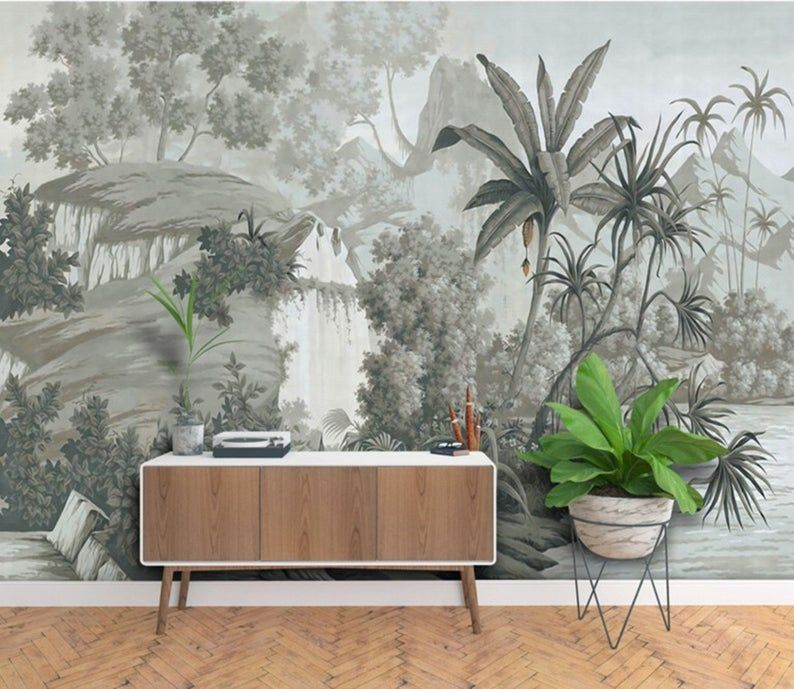 Photo of Tropical Rainforest Wallpaper, Vintage Grey Huge Trees with Water and Plants Scenery Wall Mural, Living Room or Bedroom Wallpaper Wall Mural