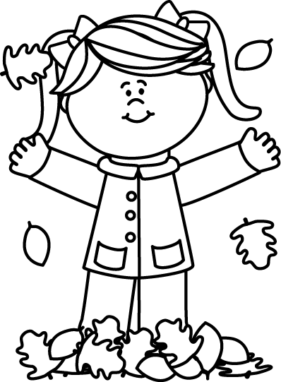 Black And White Girl Playing In Leaves Clip Art Black And White Girl Playing In Leaves Image Black And White Girl Clip Art Art