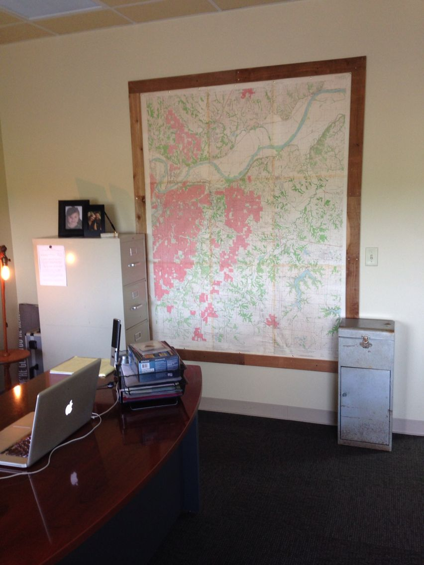 Wooden frame for large KC Metro map in my office (54 /1/2
