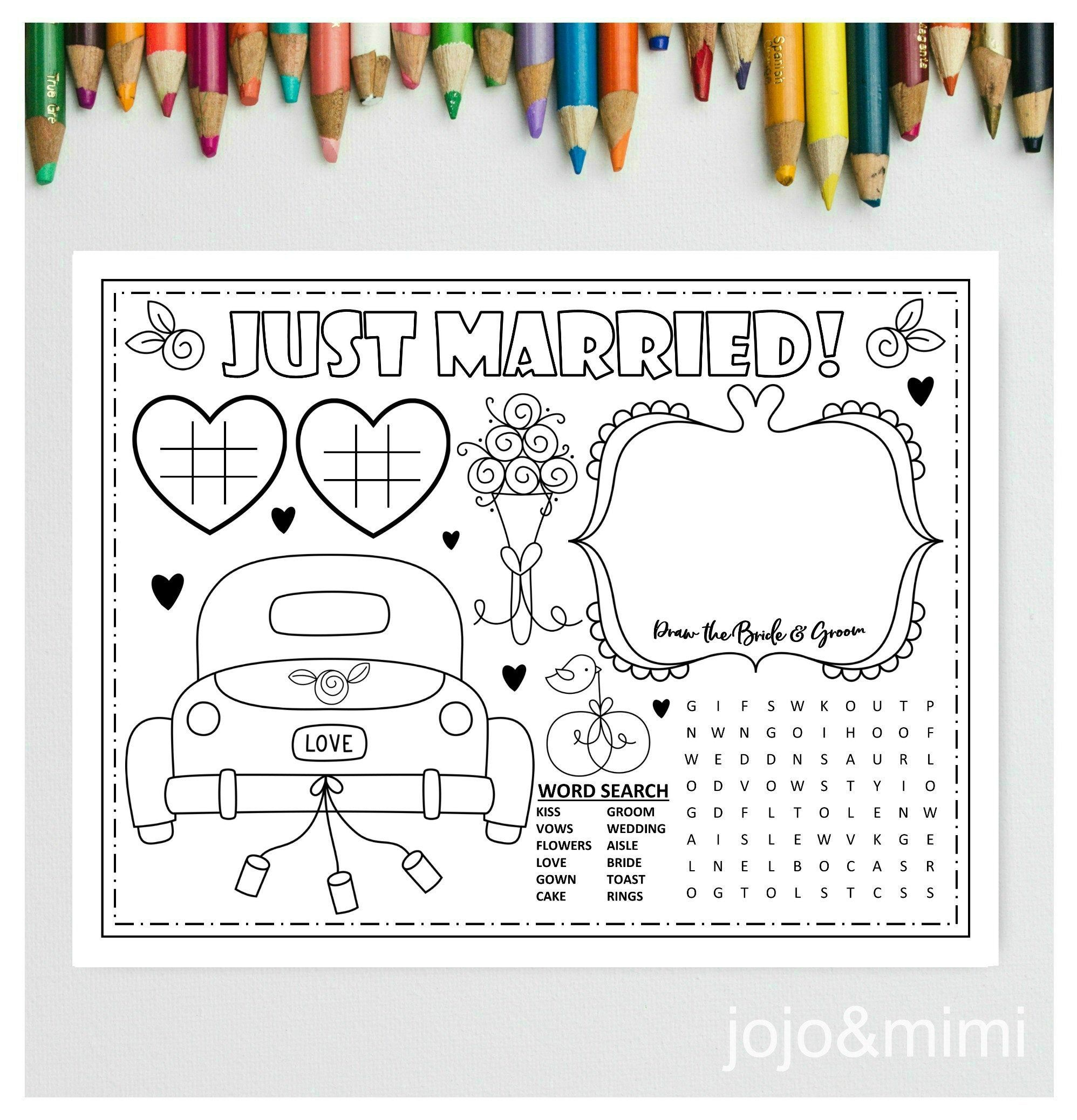 WEDDING Printable Placemat Wedding Day Activity Kids