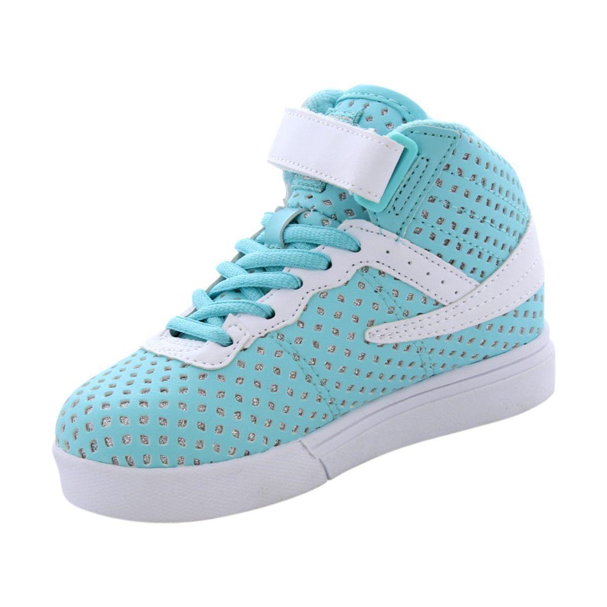 9d5832d61c Fila - Girl's Vulc 13 Sparkles Sneakers (Little Kid) - Blue/White ...