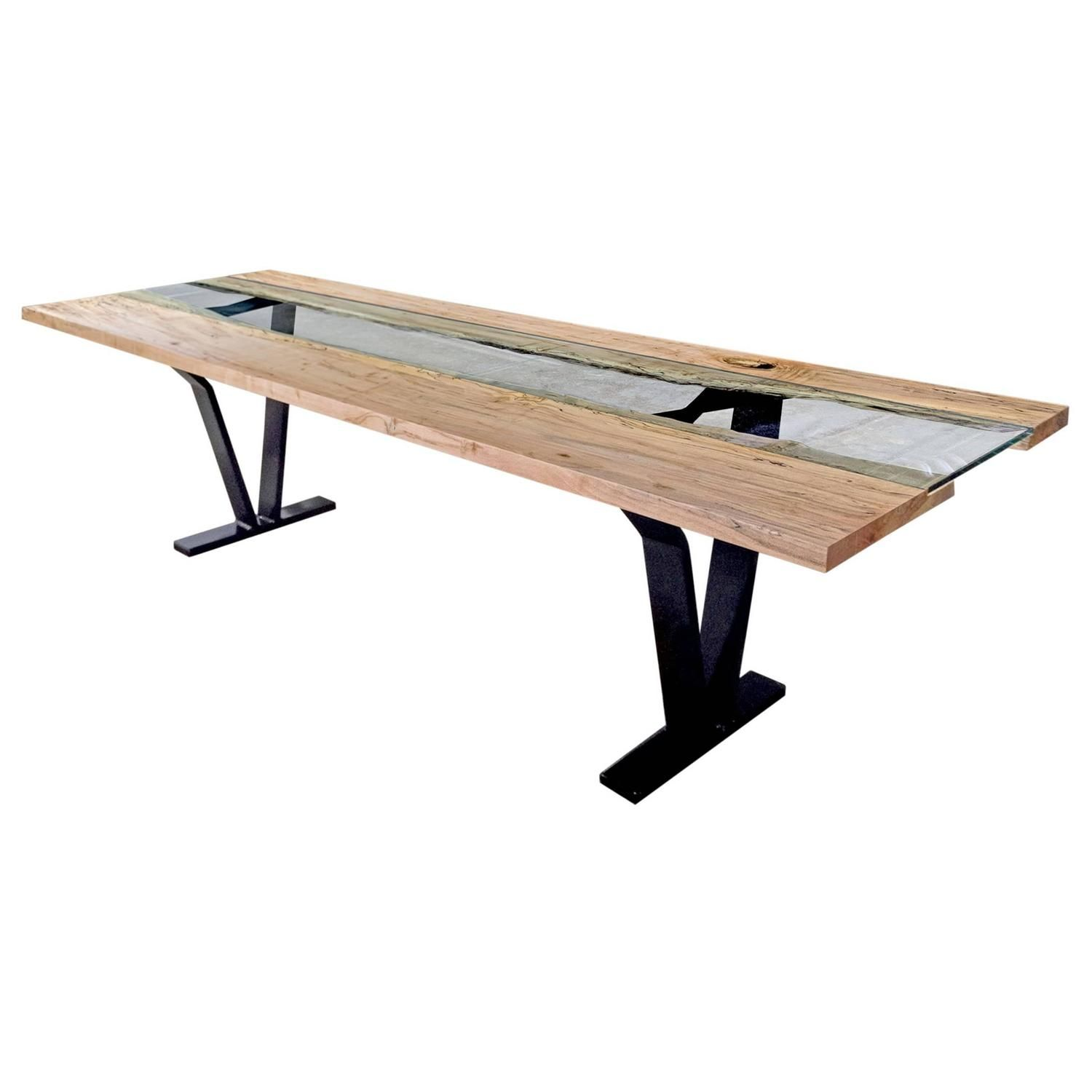 Sentient Dining Room Table Dining Table Colorado 84 Live Edge Ambrosia Slab Blackened Legs American Organic Modern Steel Glass Maple Dining Room Table Table Home Decor Dyi