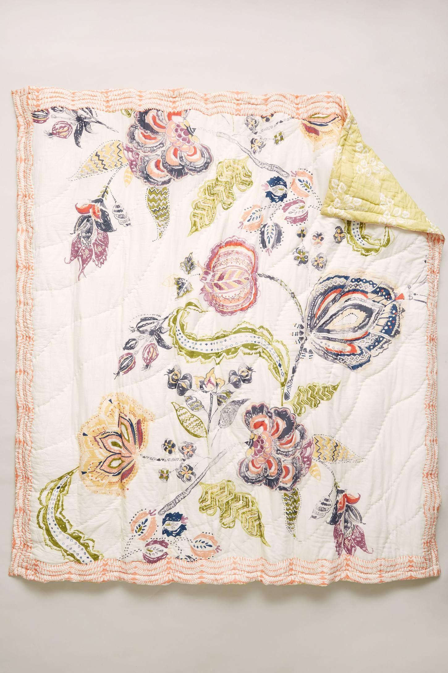 Woodblock Floral Quilt Floral Quilt Floral Duvet Chintz Fabric
