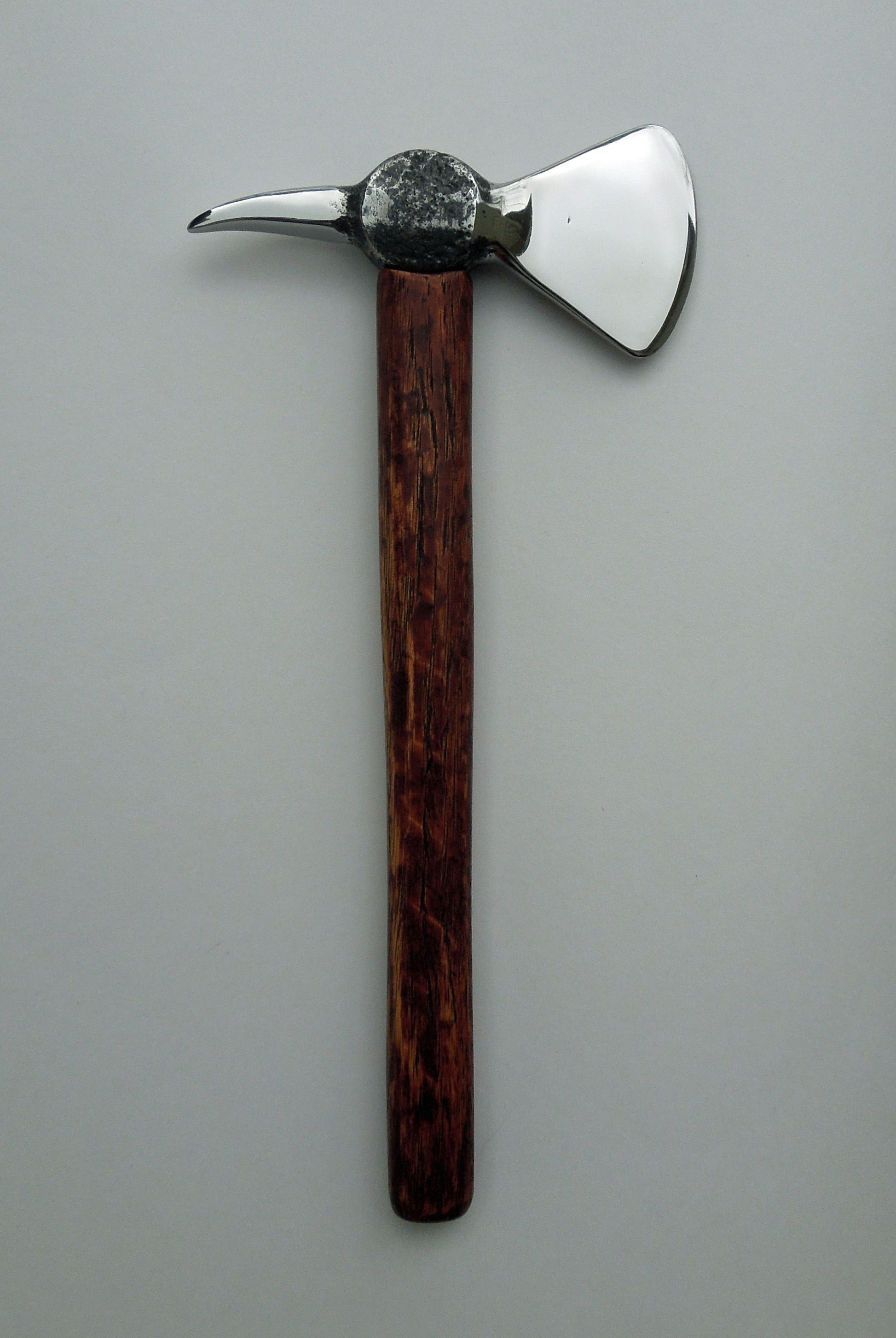 Small Tomahawk made from ball peen hammer and polished