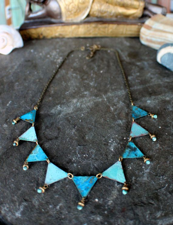 Handmade Blue and Verdigris patina by Lesliefreemanjewelry on Etsy, $135.00--this is brass