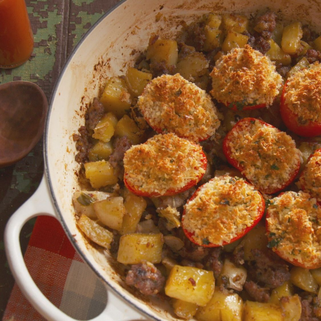 Sausage and Bacon Hash with Baked Tomatoes Recipe in