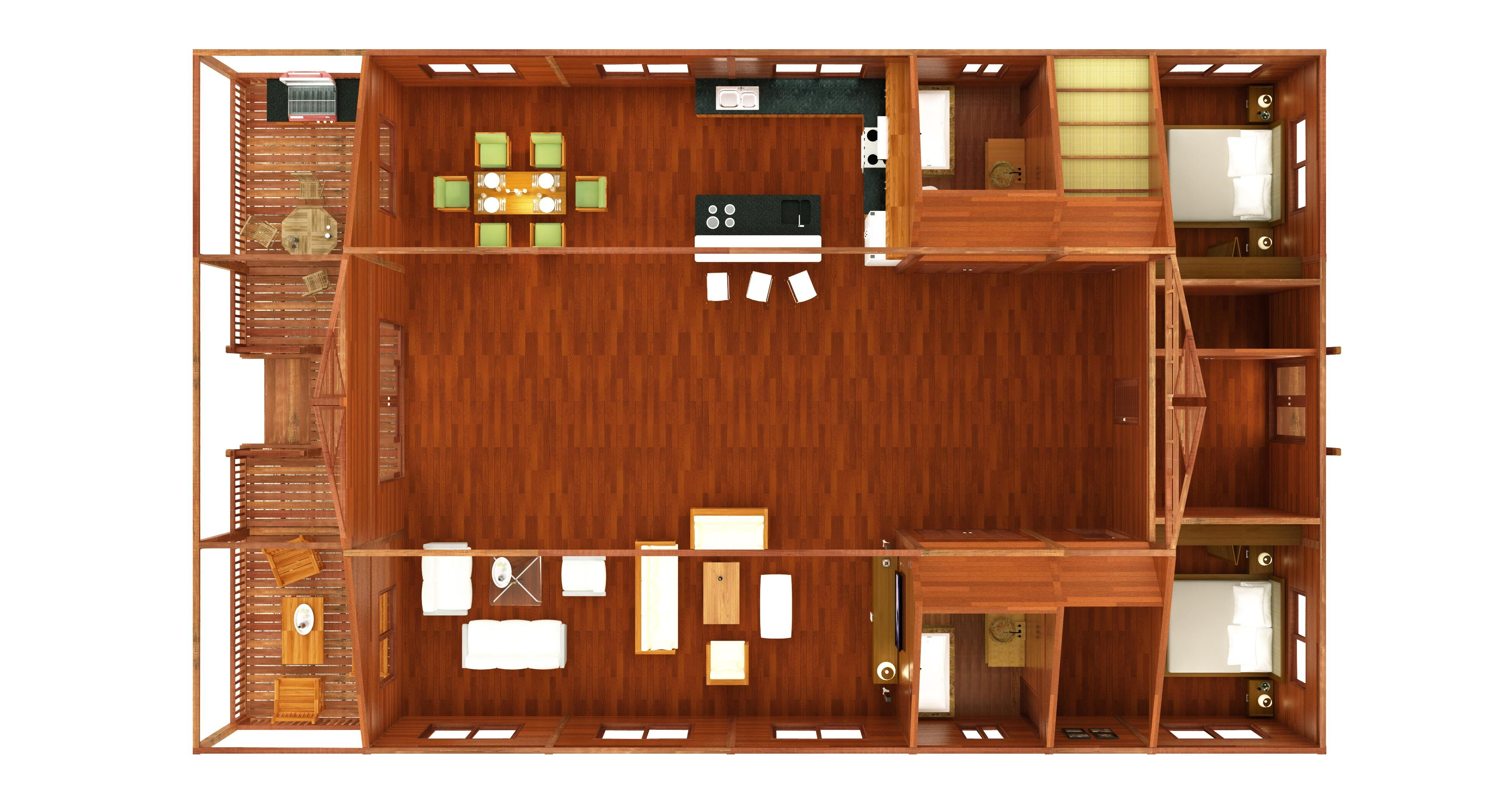 Bali Floor Plans: Our most popular model utilizes larger spans to achieve a spacious 'hang out' area in this Bali Floor Plan.