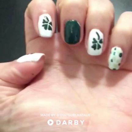 Four Leaf Clover St Patricks Day Nail Design Naildesign Nailart
