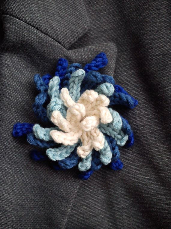 Ombre crochet brooch jewelry for winter coat by TurqoiseHandmade