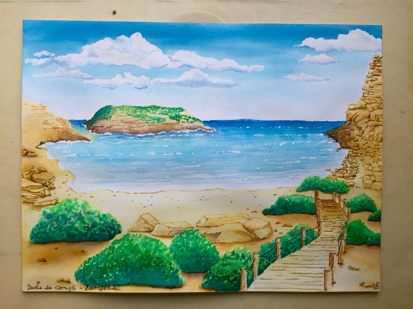 Isola dei conigli, Lampedusa  (30x40cm - ecoline)  by Laura Sclavi
