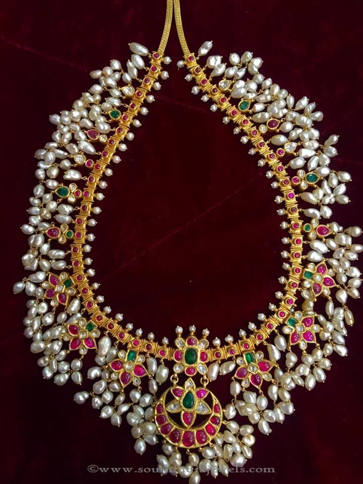 Gold Antique Guttapusalu From Big Shop  Necklace