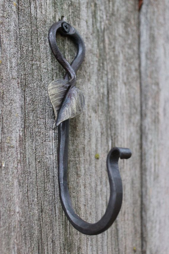 Decorative Gold Leaf Hook blacksmith made by toughandtwisted