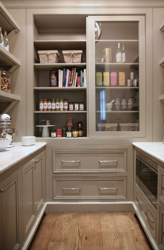 Warm white kitchen design gray butler s pantry home for Kitchen designs with butler pantry