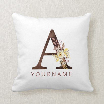 Floral Monogram A Rich Autumn Foliage Throw Pillow | Zazzle.com #autumnfoliage