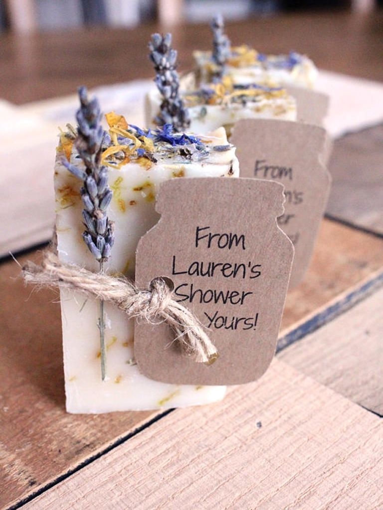 pair scented soap bars with a handwritten tag for the perfect bridal shower favor to go along with rustic all natural nuptials