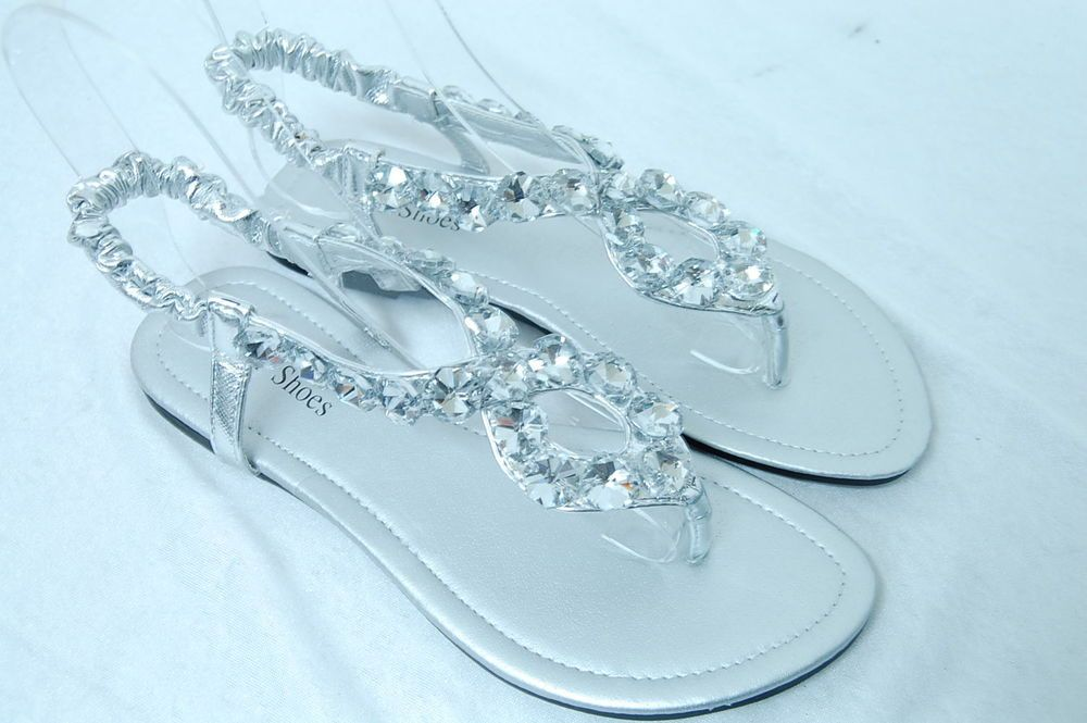 Women/'s Rhinestone Flat Flip Flops Black Wedding Shoes