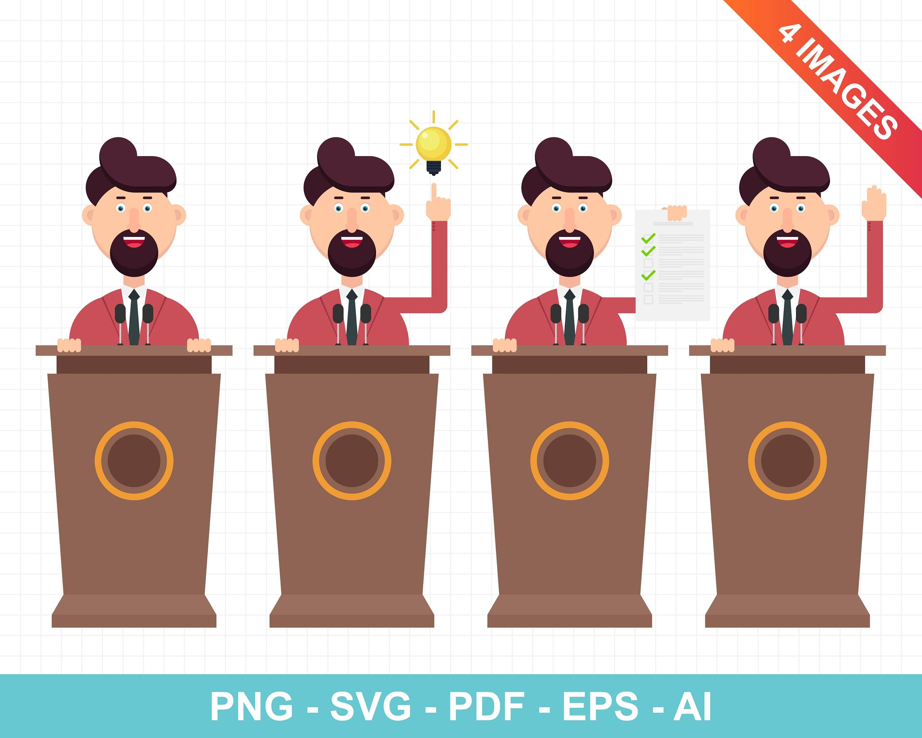 Businessman Is Speaking On Podium In Different Actions Etsy Business Man Cartoon Clip Art
