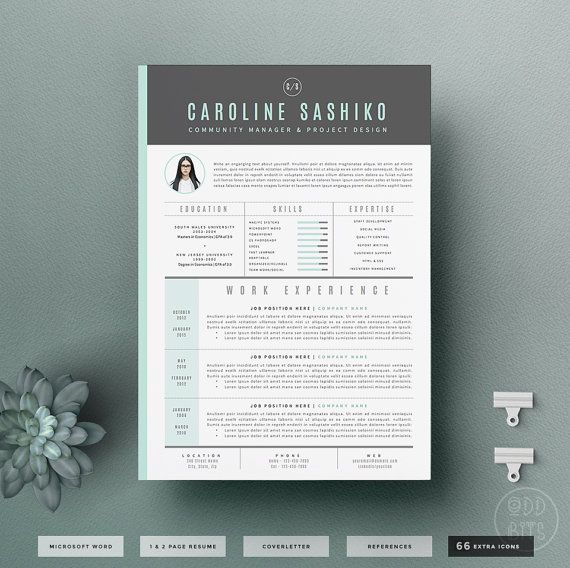 Resume CV Template Cover Letter Design for Word Instant