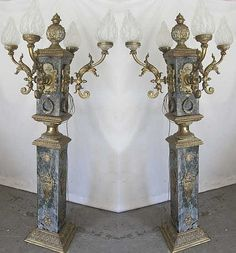 Monumental French Empire Bronze Marble Torchieres