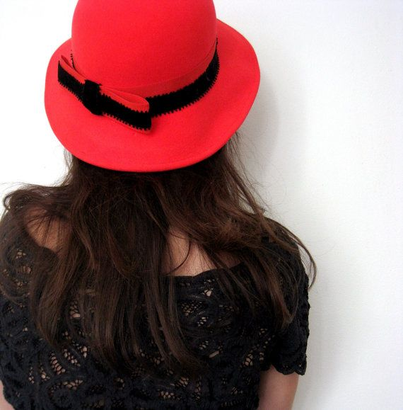 1960s Bright Scarlet MR. JOHN Felted Wool Bow Hat by LolaVintage, on Etsy.