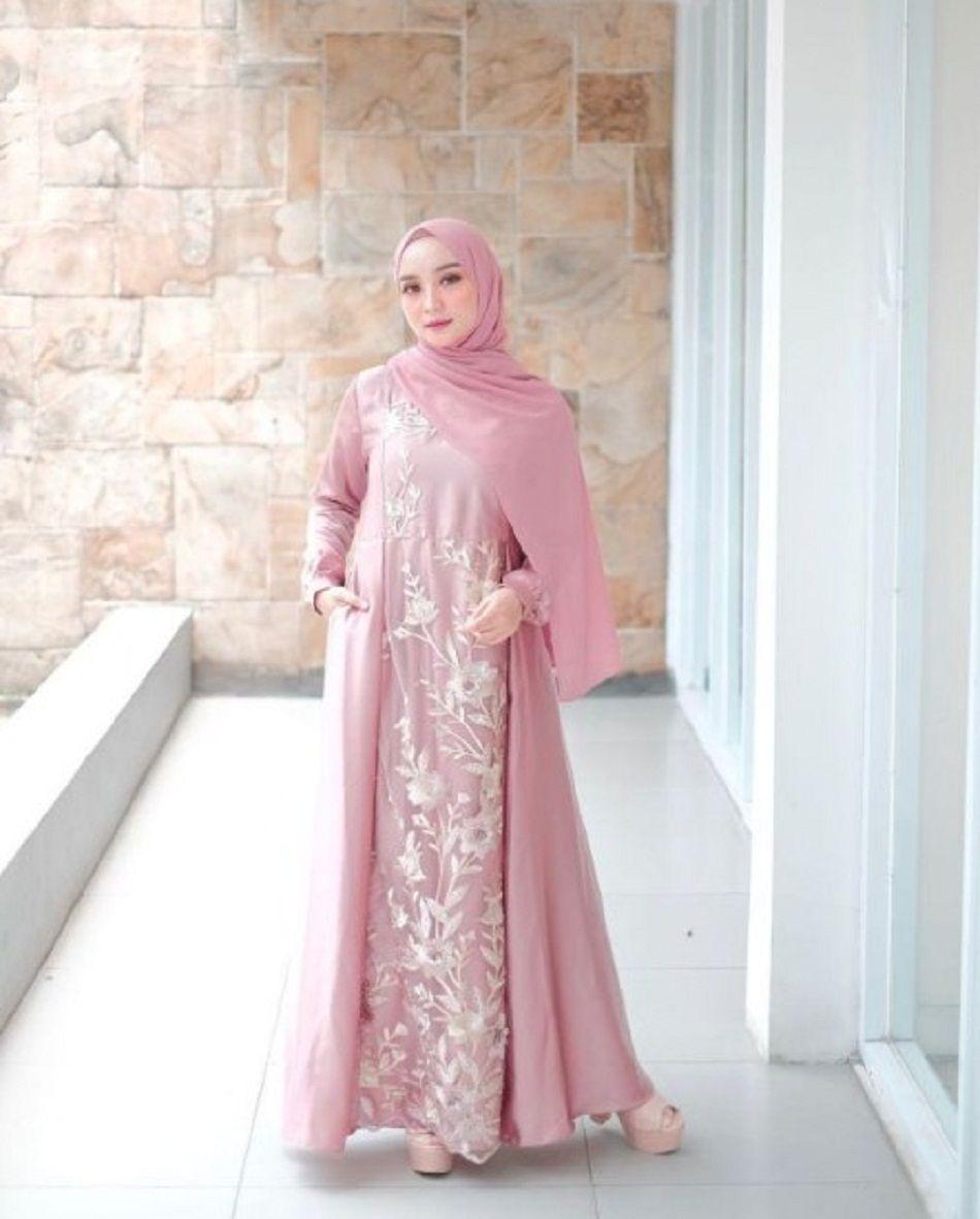 9 Model Baju Gamis Brokat Pesta Muslim Mewah Modern di Tahun 9