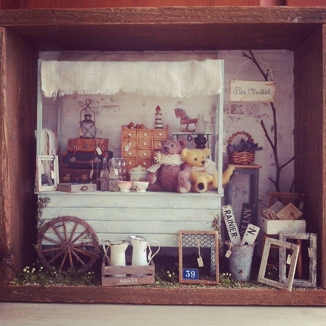 #miniature#dollshouse#tsplace完成#teddybear#fleamarket#antique#ミニチュア#のみの市#蚤の市#アンティーク#手作り Done!!! 完成しました! 蚤の市ですの(^∇^)/