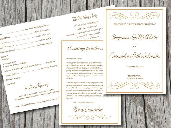 Navy Blue Wedding Program TemplateInstant Download Microsoft Word