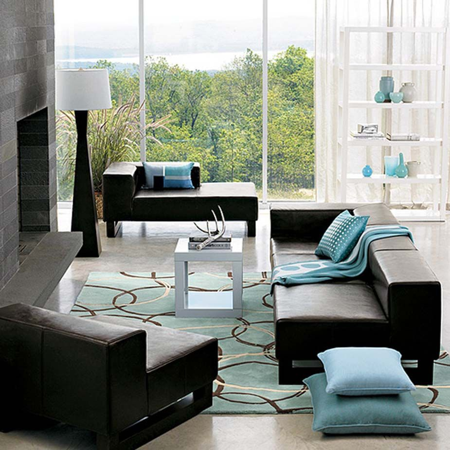 What to decorate living room black sofa blue accessories google search
