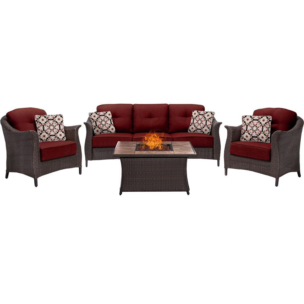 Hanover Gramercy 4 Piece Woven Fire Pit Set In Crimson Red Gram4pcfp Red Tn Outdoor Dining Patio Seating