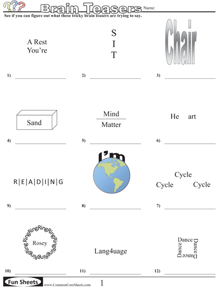 Printables Brain Teasers Worksheet 1000 images about reading brain teasers on pinterest blue and gold teasers