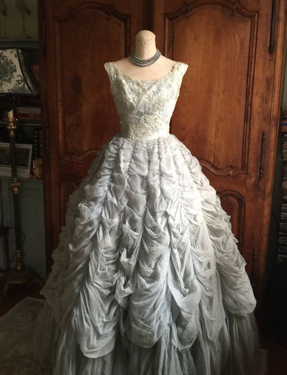 RESERVED 50s Wedding Dress/Vintage 1950s Ball Gown Dove Grey Blue ...