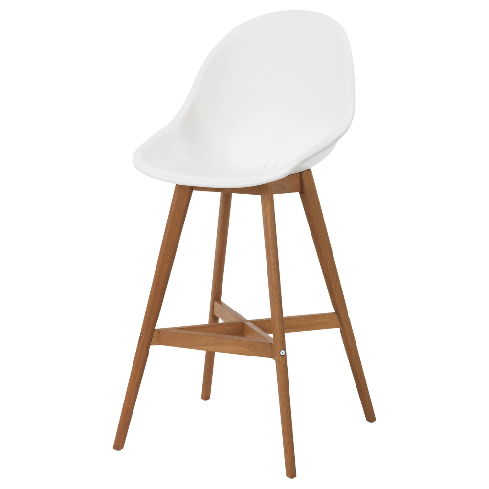 Ikea Fanbyn Bar Stool With Backrest White You Sit Comfortably Thanks To The Shaped Back And Armrests Ma In 2020 White Bar Stools Kitchen Bar Stools Bar Furniture